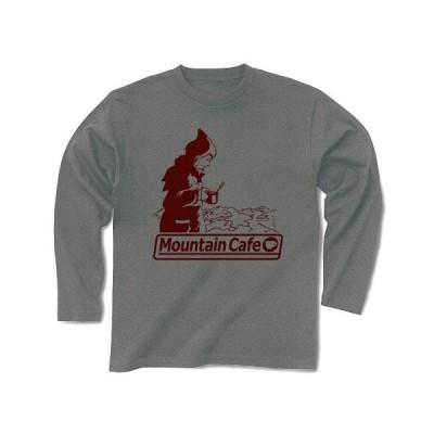 マウンテン・カフェ(Red) 長袖Tシャツ(グレー)