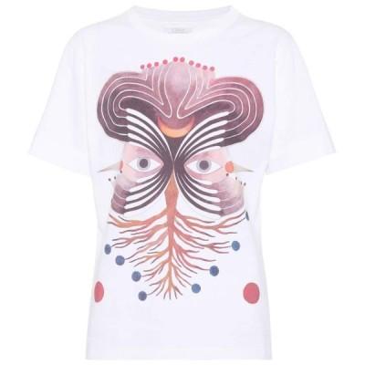 クロエ Chloe レディース Tシャツ トップス Printed cotton T-shirt Blanc