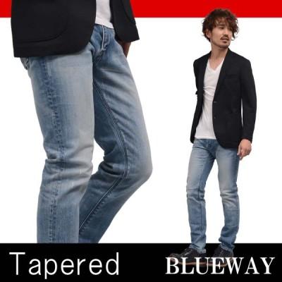 BLUEWAY レギュラーテーパードジーンズ ソリッドストレッチデニム(ハードビンテージ):M1881-5504