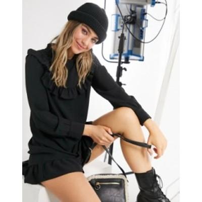 ニュールック レディース ワンピース トップス New Look high neck ruffled bib mini smock dress in black Black