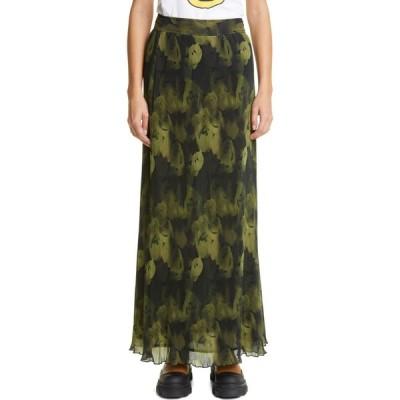 ガニー GANNI レディース ロング・マキシ丈スカート スカート Floral Print Plisse Pleated Georgette Maxi Skirt Olive Drab