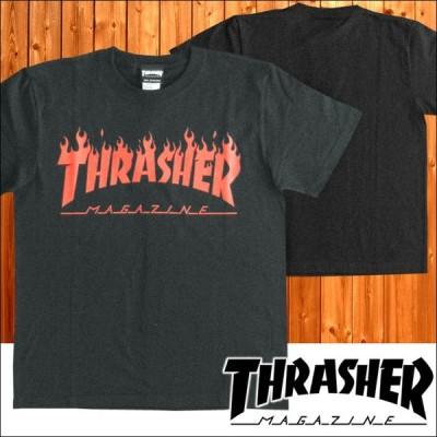 THRASHER スラッシャー メンズ Tシャツ FLAME LOGO ブラック レッド  スケーター インポート ストリート ブランド HIPHOP 正規