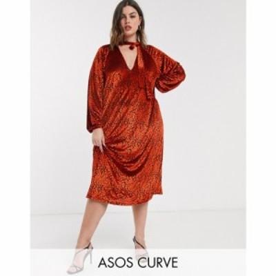 エイソス ASOS Curve レディース ワンピース ミドル丈 ワンピース・ドレス ASOS DESIGN Curve animal velvet tie neck midi dress in red