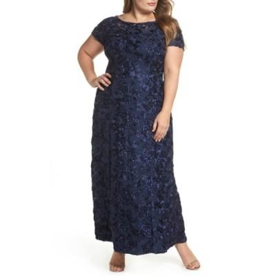 アレックスイブニングス レディース ワンピース トップス Rosette Lace Short Sleeve A-Line Gown NAVY