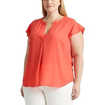 ラルフローレン カットソー トップス レディース Plus Size Flutter-Sleeve V-Neck Top Pink
