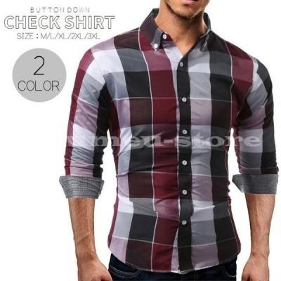 カジュアルシャツ ボタンダウン Yシャツ シャツ メンズ デザインシャツ 長袖 チェック柄 ブロックチェック柄 カジュアル 前開き ボタン オールシー
