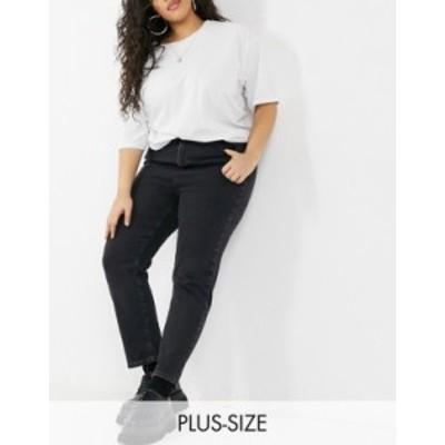 ニュールック レディース デニムパンツ ボトムス New Look Curve straight leg jeans in black Black