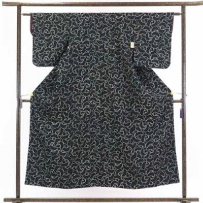 【中古】リサイクル着物 小紋 / 正絹黒地蝶柄袷小紋着物 / レディース【裄Sサイズ】