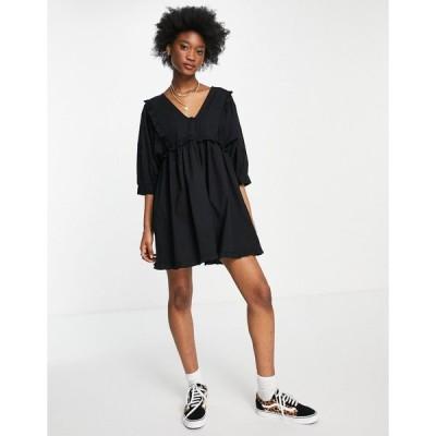 エイソス ミニドレス レディース ASOS DESIGN frill v neck cotton button through mini smock dress in black エイソス ASOS ブラック 黒