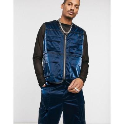 エイソス ジャケット メンズ ASOS EDITION co-ord vinyl utility vest in blue エイソス ASOS ブルー 青