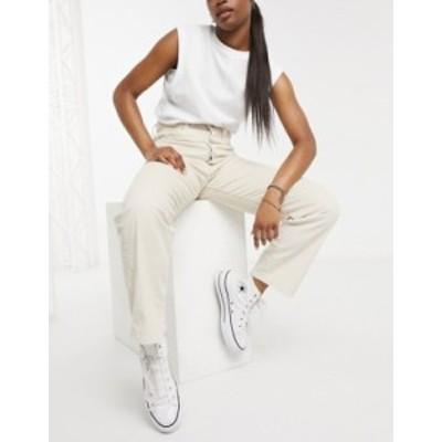 リーバイス レディース デニムパンツ ボトムス Levi's Ribcage cord straight leg ankle grazer jeans in cream Sand shell wide wale