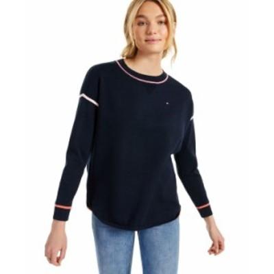 トミー ヒルフィガー レディース ニット・セーター アウター Cotton Contrast-Trim Sweater Sky Captain Multi
