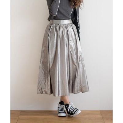 スカート 【2021SS新作】箔ギャザーロングスカート