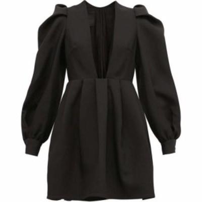 ヴァレンティノ Valentino レディース パーティードレス ワンピース・ドレス Plunge-Neck Wool-Blend Crepe Dress Black