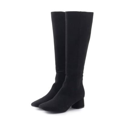 エスペランサ ESPERANZA スクエアヒールサイドジップロングブーツ (ブラック)