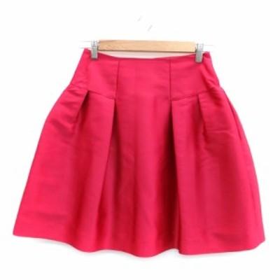 【中古】ハロッズ Harrods スカート フレア ひざ丈 サテン シルク 1 ピンク /HO30 レディース