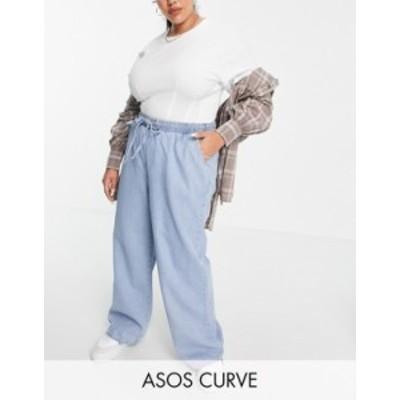 エイソス レディース デニムパンツ ボトムス ASOS DESIGN Curve pull on jeans in midwash Midwash