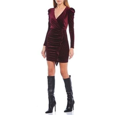 ハニーアンドロージー レディース ワンピース トップス Long Puff Sleeve Ruffle Detail Glitter Velvet Dress