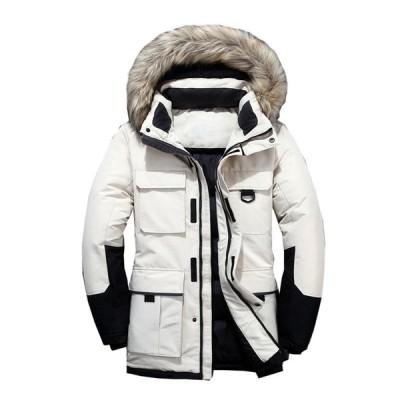 メンズ ダウンジャケット 保温 防寒着 中綿 ダックダウン ファーフード付き スタンドカラー 防風防寒 男性用 ロング 多ポケット
