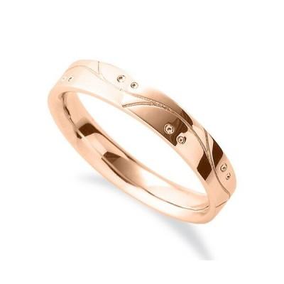 指輪 18金 ピンクゴールド ウェーブラインと丸い模様が刻まれたデザインリング 幅3.8mm|K18PG 18k 貴金属 ジュエリー レディース メンズ