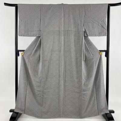 小紋 美品 優品 小花柄 黒灰 袷 身丈165.5cm 裄丈64.5cm M 正絹 中古