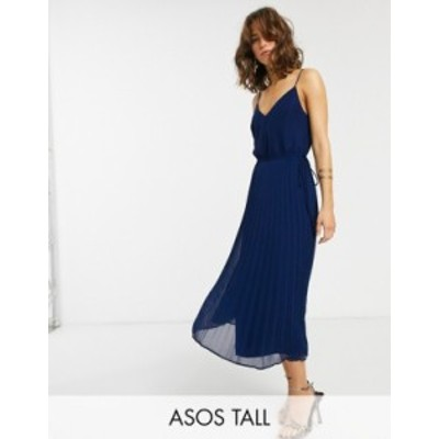 エイソス レディース ワンピース トップス ASOS DESIGN Tall pleated cami midi dress with drawstring waist Navy