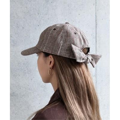 WEST CLIMB / Per sist ence/パーシエンス ブラックコーデュロイ&ツイル バックリボンキャップ WOMEN 帽子 > キャップ