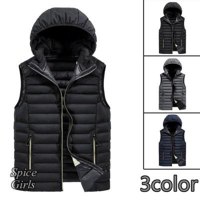 中綿ベスト 防寒着 前開きベスト 中綿 アウター 無地 フード付き ジャケット キルティングコート 防寒防風 ビジネス スリム