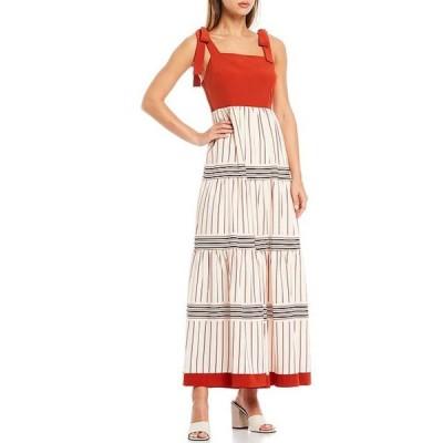 エーラブズエー レディース ワンピース トップス Tie Strap Printed Square Neck Sleeveless Chiffon Maxi Dress