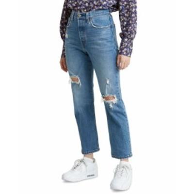 リーバイス レディース デニムパンツ ボトムス 501 Cropped Straight-Leg Jeans 501 Crop  Charleston Ends
