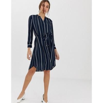 セレクティッド レディース ワンピース トップス Selected Femme stripe mini shirt dress