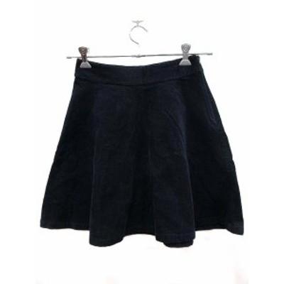 【中古】エストネーション ESTNATION スカート フレア ひざ丈 36 紺 ネイビー /YK レディース