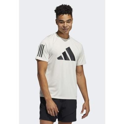 アディダス Tシャツ メンズ トップス FLEECE 3 BAR TEE DESIGNED4TRAINING PRIMEGREEN TRAINING WORKOUT T-SHIRT - Print T-shirt - white