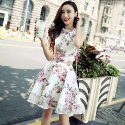 花柄ドレス セットアップ セパレート セクシー ノースリーブ Aライン フレア ミニ丈 ホルターネック きれいめ フェミニン 可愛い
