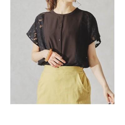 シアーオパールレースドレスシャツ