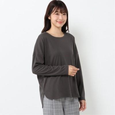 裾ラウンド長袖Tシャツ スミクロ M L