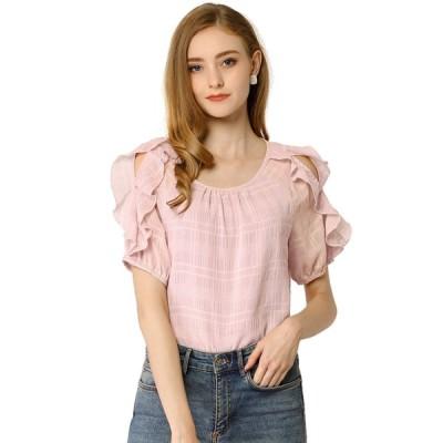 uxcell Allegra K 肩出し tシャツ シフォンブラウス フリル袖 クルーネック レディース ピンク XL
