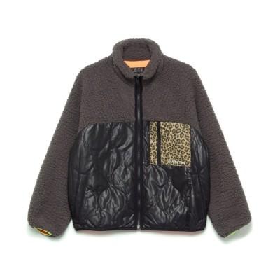 アウター Leopard Mix Quilted Zip Up Jacket