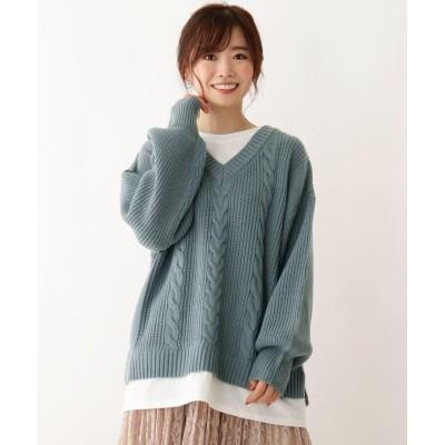 【シューラルー】 バックリボンフェイクレイヤードニット レディース ブルー 02(M) SHOO・LA・RUE