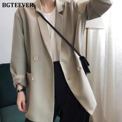 BGTEEVERエレガントポケットレディーススーツジャケットコートオータムオフィスレディースブレザー2020ルーズダブルブレストレディースアウトウェアジャケット