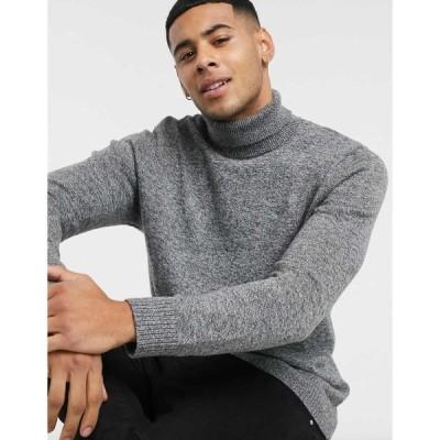 ホリスター Hollister メンズ ニット・セーター トップス icon logo roll neck knit jumper in grey marl グレー