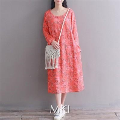 ワンピース ファッション 女性 レディース 花柄 丸いネック 長袖 ロング丈 プリント 気質 ゆったり 着痩せ 夏 30代 40代 2020新作
