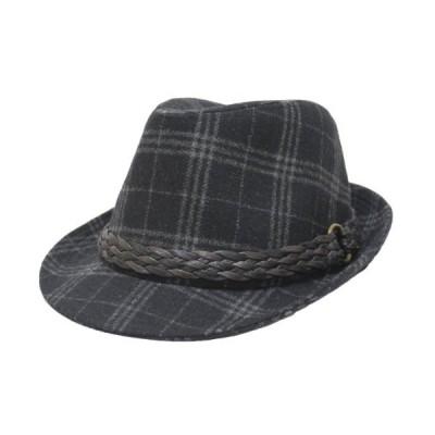 (大きい帽子 65cm)グレンチェックメッシュ編みテープリボン中折れハット ブラック