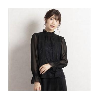 Rose Tiara/ローズティアラ シフォンレース切替ブラウス ブラック 42