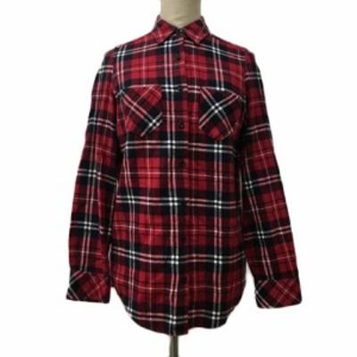 【中古】イング INGNI シャツ ネルシャツ チェック スタンダード 長袖 M 赤 黒 レッド ブラック 〇 レディース