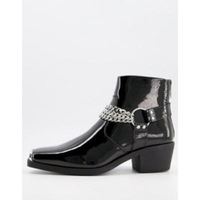 エイソス メンズ ブーツ・レインブーツ シューズ ASOS DESIGN cuban heel western chelsea boots in black patent with silver chain Bla
