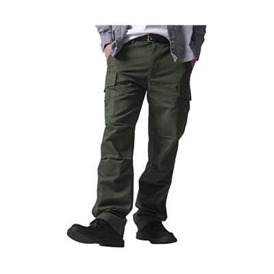 HOLITED(ホリテッド) メンズ カーゴパンツ ゆったり ミリタリー 作業着 多機能 ズボン ワイドパンツ ワークパンツ (カーキ M)