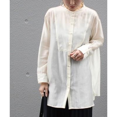 シャツ ブラウス [再入荷][洗える]パールボタンサテンバンドカラーシャツ【小さいサイズ/大きいサイズ対応】