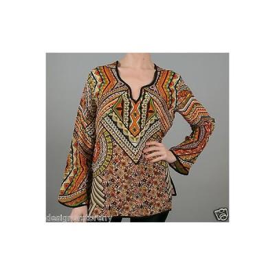トップス トラーニ Tolani Lolita Silk Printed Tunic Blouse Top in Sand 8555