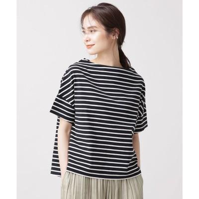 WEB限定/ボーダーワイドドロップTシャツ 半袖 ブラック